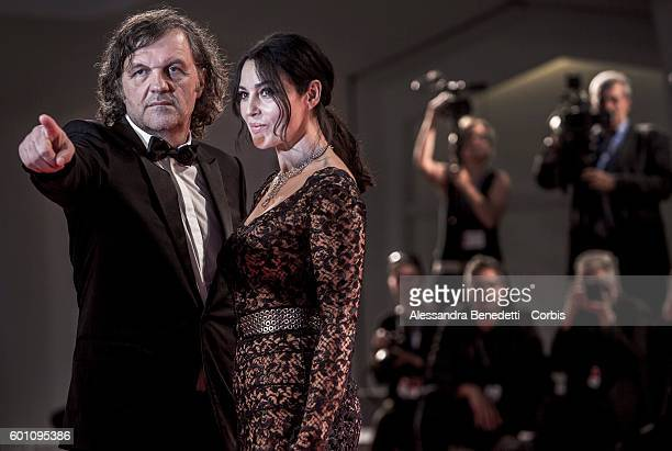 Monica Bellucci and Emir Kusturica attend a premiere for 'On The Milky Road' during the 73rd Venice Film Festival at Palazzo del Cinema on September...