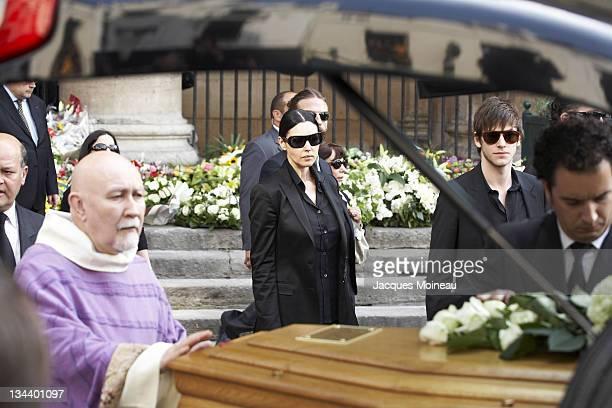 Monica Bellucci and Gaspard Ulliel during JeanPierre Cassel Funeral at St Eustache Church of Paris in Paris France
