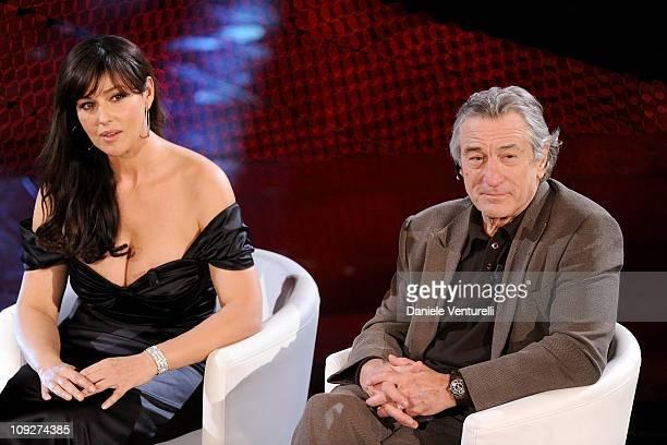 Monica Belluci and Robert de Niro attend the 61th Sanremo Song Festival at the Ariston Theatre on February 18 2011 in San Remo Italy