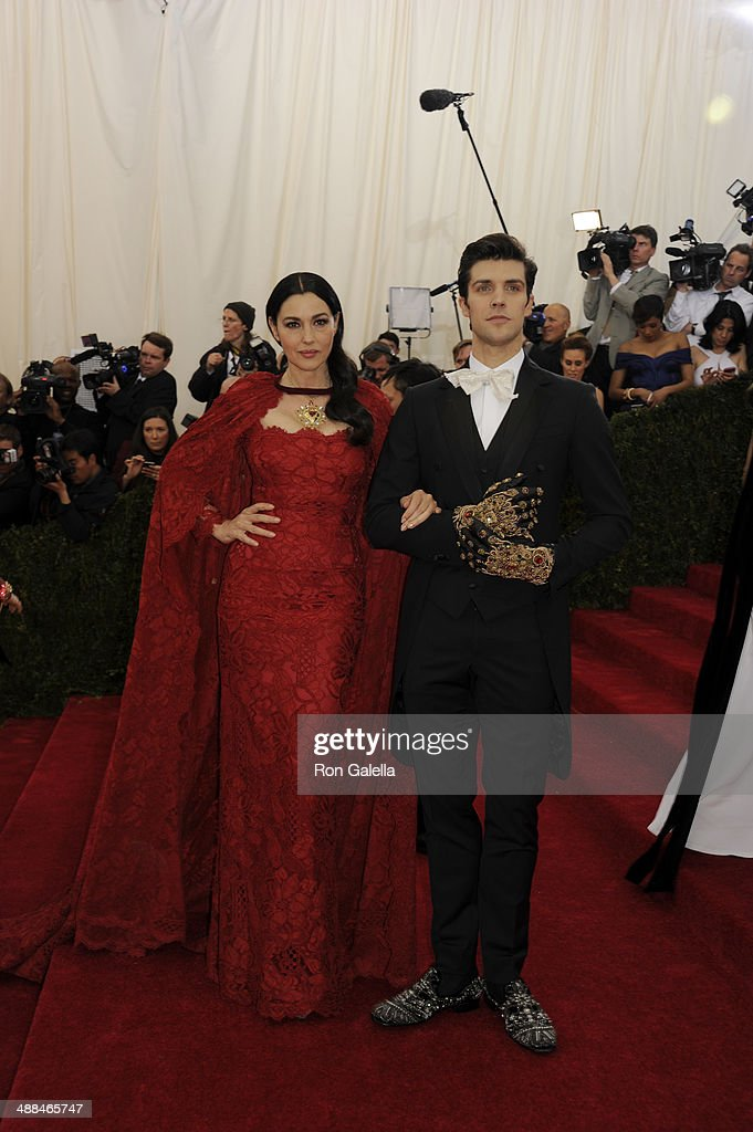 Monica Bellucci and Roberto Bolle attend the 'Charles James: Beyond Fashion' Costume Institute Gala at the Metropolitan Museum of Art on May 5, 2014 in New York City.