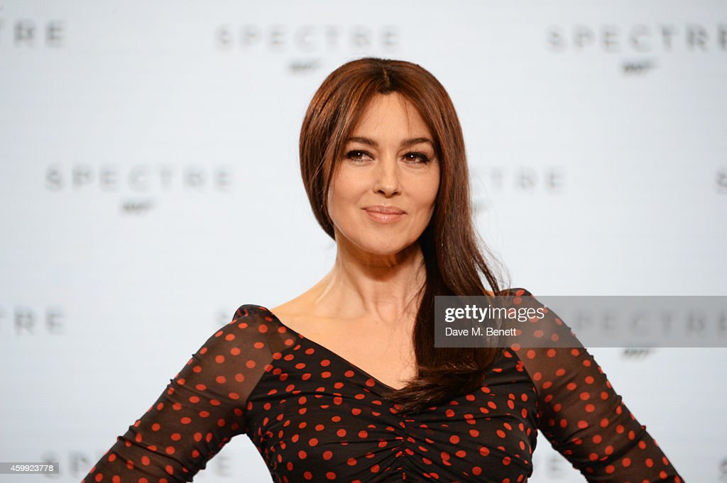 Monica Bellucci attends a photocall with cast and filmmakers to mark the start of production which is due to commence on the 24th Bond Film and...