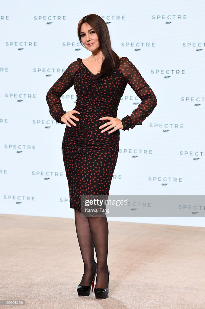 Monica Bellucci attends the photocall to announce the start of the production of the 24th Bond Film 'Spectre' at Pinewood Studios on December 4 2014...