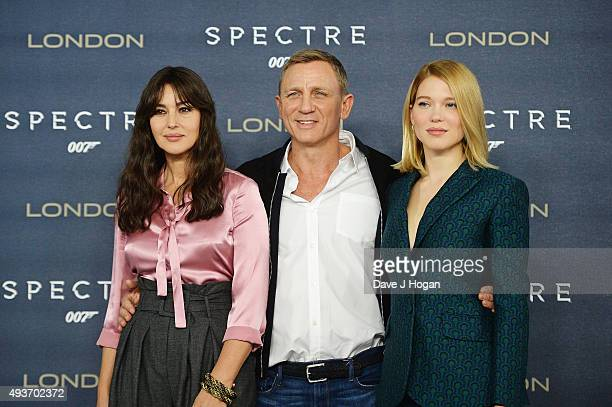 Monica Bellucci Daniel Craig and Lea Seydoux attend a photocall for 'Spectre' at Corinthia Hotel London on October 22 2015 in London England