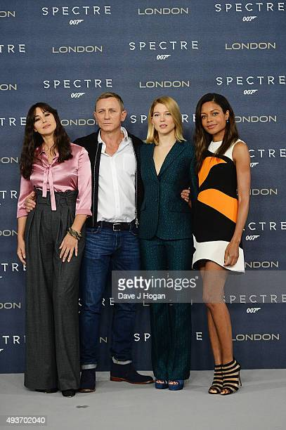Monica Bellucci Daniel Craig Lea Seydoux and Naomie Harris attend a photocall for 'Spectre' at Corinthia Hotel London on October 22 2015 in London...
