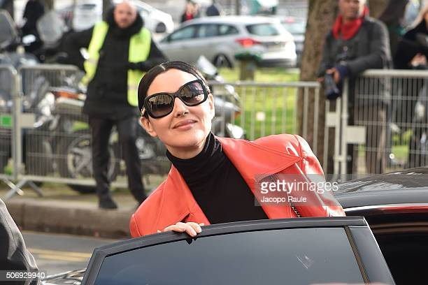 Monica Bellucci departs at the Chanel fashion show Paris Fashion Week Haute Coture Spring /Summer 2016 on January 26 2016 in Paris France