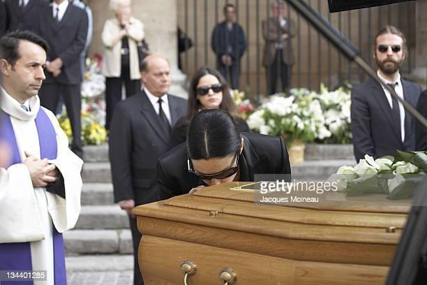 Monica Bellucci during JeanPierre Cassel Funeral at St Eustache Church of Paris in Paris France