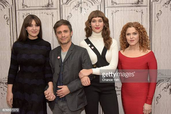 Monica Bellucci Gael Garcia Bernal Lola Kirke and Bernadette Peters attend The Build Series to discuss 'Mozart In The Jungle' at AOL HQ on November...