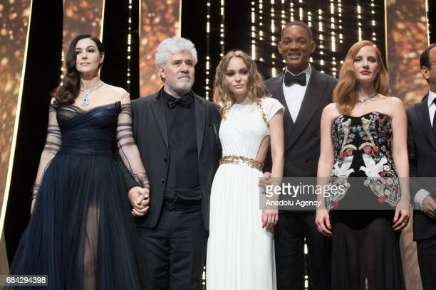 Monica Bellucci Pedro Almodovar LilyRose Depp Will Smitha and Jessica Chastain pose during the Opening Ceremony of the 70th annual Cannes Film...