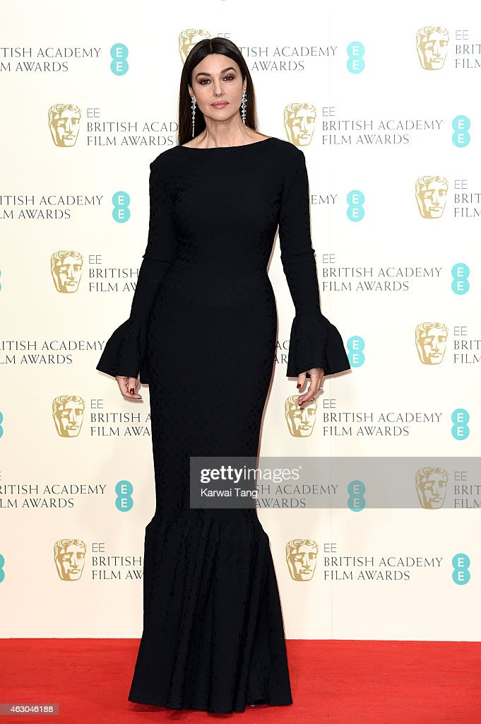 Monica Bellucci poses in the winners room at the EE British Academy Film Awards at The Royal Opera House on February 8 2015 in London England