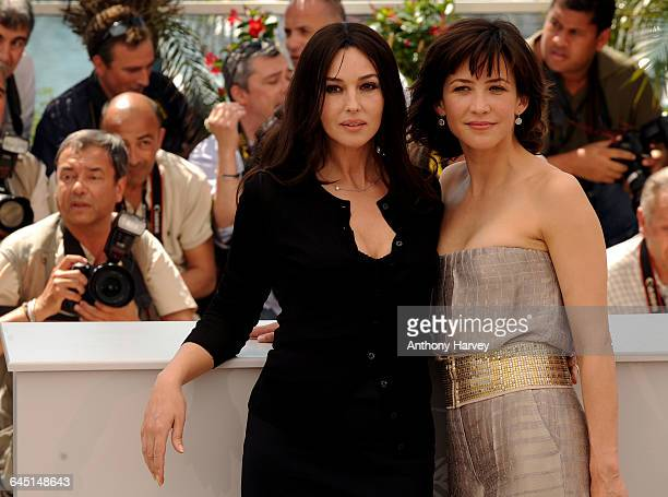 Monica Bellucci Sophie Marceau attend the 'Don't Look Back' Photocall at the Palais Des Festivals during the 62nd International Cannes Film Festival...