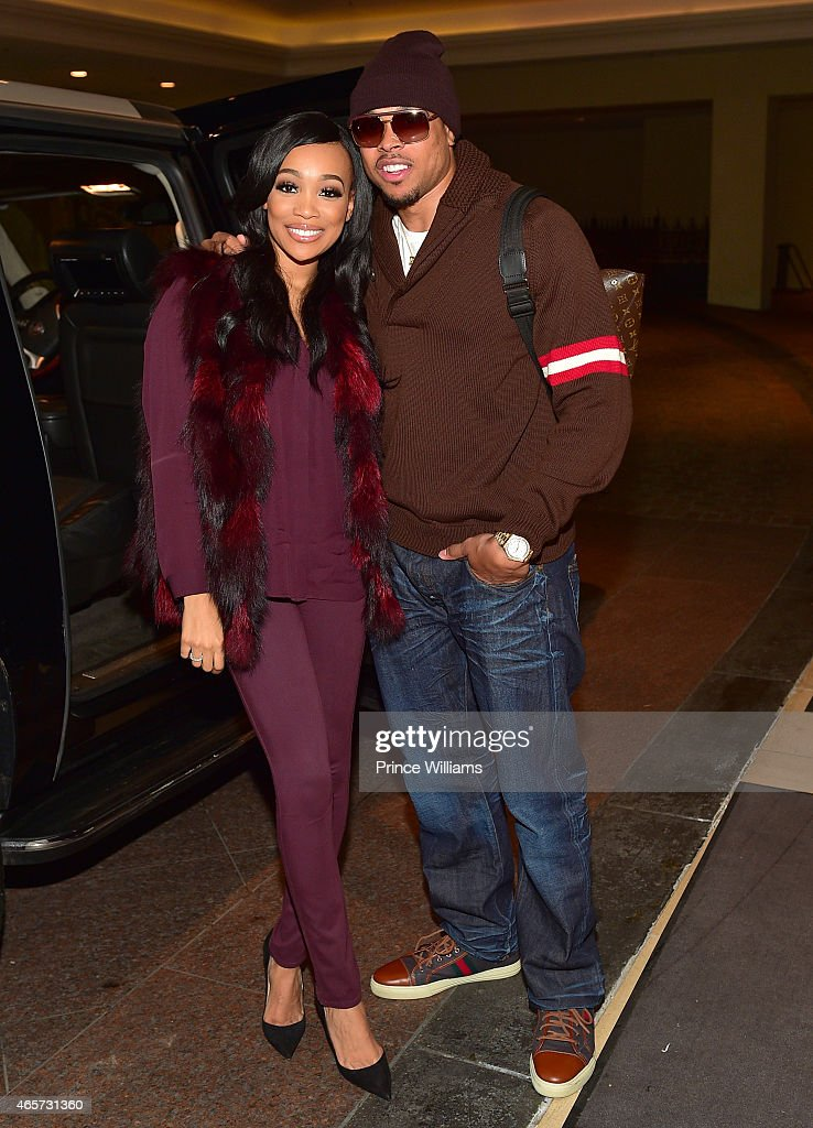 Monica Brown and Shannon Brown attend Power Black And White Affair at Harrah's Casino on March 8 2015 in New Orleans Louisiana