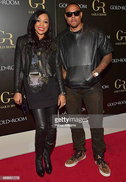Monica Brown and Shannon Brown attend the K Michelle and Monica Concert afterparty at Gold Room on March 12 2015 in Atlanta Georgia