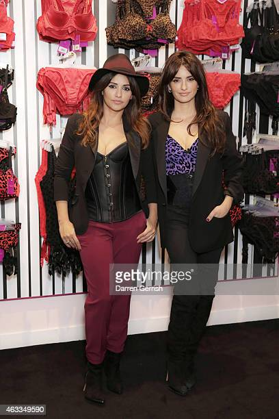 Monica Cruz and Penelope Cruz attend the opening of the 1st L'Agent by Agent Provocateur London Boutique on February 12 2015 in London England