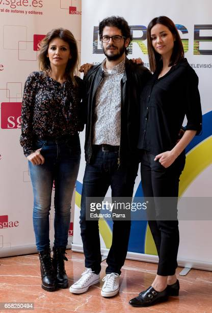 Monica Cruz Juanma R Pachon and Dafne Fernandez attend the 'Dirige' photocall at Longoria palace on March 27 2017 in Madrid Spain