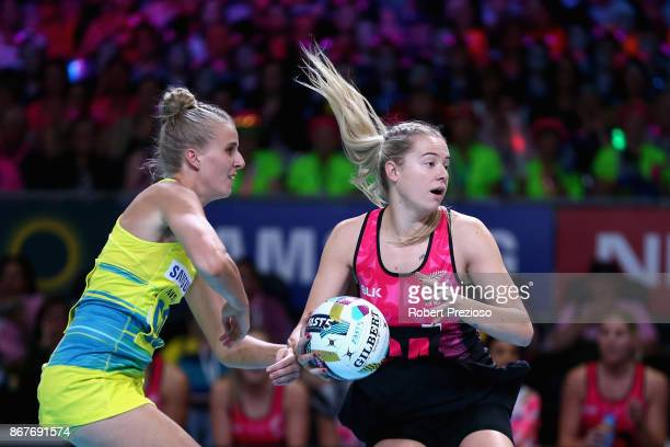 Monica Falkner of New Zealand gathers the ball during the Fast5 World Series Netball match between Australia and New Zealand at Hisense Arena on...