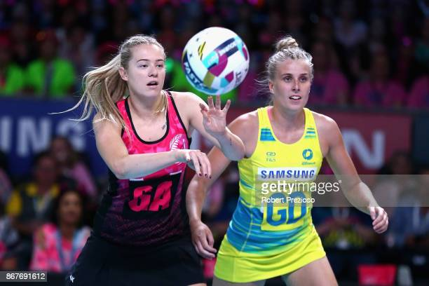 Monica Falkner of New Zealand passes the ball during the Fast5 World Series Netball match between Australia and New Zealand at Hisense Arena on...