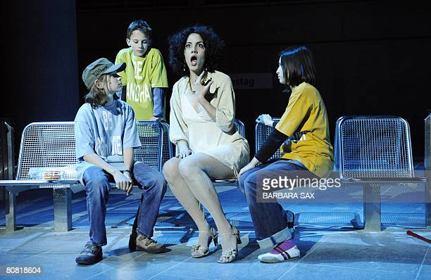 Monica Garcia Albea in the role of Pamina and young singers from the GeorgFriedrichHaendel school in Berlin perform during the dress rehearsal of...