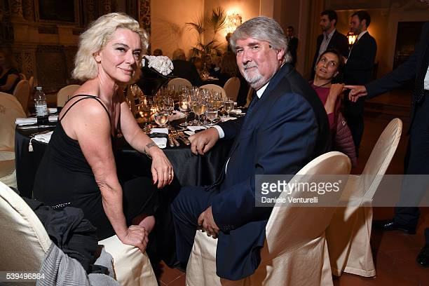 Monica Guerritore and Italian Minister of Labour and Social Policies Giuliano Poletti attend 62 Taormina Film Fest Opening Gala Dinner at Hotel San...