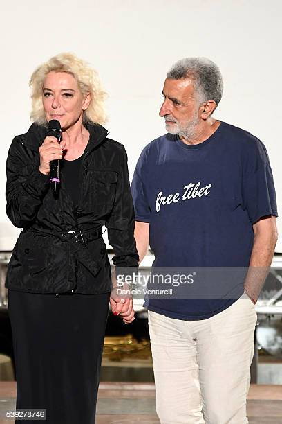 Monica Guerritore and Renato Accorinti attend 62 Taormina Film Fest Pre Opening on June 10 2016 in Messina Italy