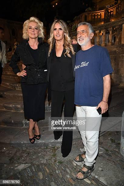 Monica Guerritore Tiziana Rocca and Renato Accorinti attend 62 Taormina Film Fest Pre Opening on June 10 2016 in Messina Italy