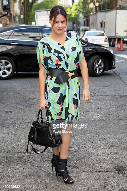 Monica Hoyos is seen arriving to 'Petit Fashion Week' event at 'Palacio de Cristal' on October 16 2015 in Madrid Spain