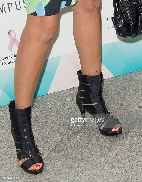 Monica Hoyos shoes detail attends The Petite Fashion Week photocall at Madrid City Hall on October 16 2015 in Madrid Spain