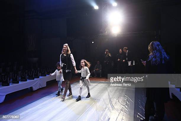 Monica Ivancan and two girls are seen backstage ahead of the Platform Fashion Selected show during Platform Fashion January 2016 at Areal Boehler on...