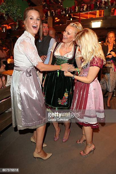 Monica Ivancan Barbara Sturm Jennifer Knaeble during the opening of the Oktoberfest 2016 at the 'Kaeferschaenke' beer tent at Theresienwiese on...