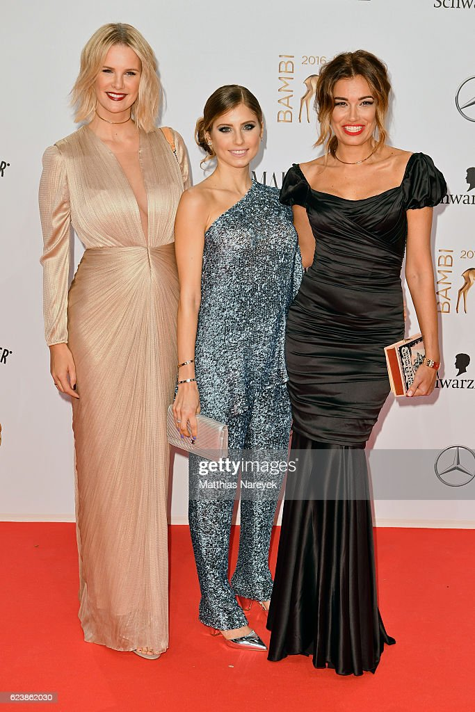 Monica Ivancan, Cathy Hummels and Jana Ina Zarrella arrive at the Bambi Awards 2016 at Stage Theater on November 17, 2016 in Berlin, Germany.