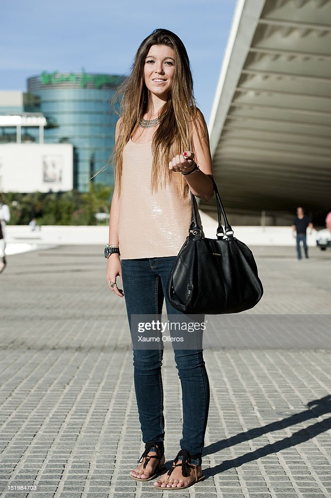 Monica Jaen wears a top from Mango, pants from Zara and shoes from Pull&Bear during the Valencia Fashion Week at Ciudad de las Artes y Las Ciencias on September 14, 2012 in Valencia, Spain.