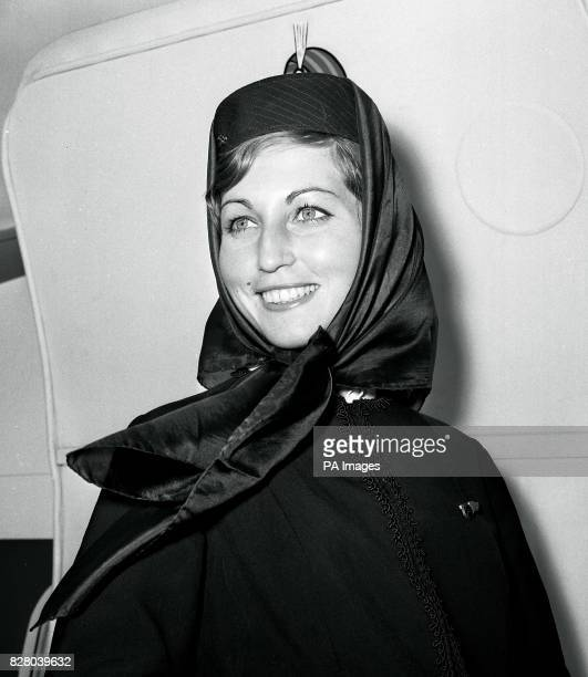 Monica Krause Air India air hostess who is part of the crew of a 'Children's Special' Air India 707 jet airliner which is set to fly from London...