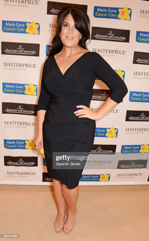 <a gi-track='captionPersonalityLinkClicked' href=/galleries/search?phrase=Monica+Lewinsky&family=editorial&specificpeople=118612 ng-click='$event.stopPropagation()'>Monica Lewinsky</a> arrives at The Masterpiece Marie Curie Party supported by Jaeger-LeCoultre and hosted by Heather Kerzner at The Royal Hospital Chelsea on June 30, 2014 in London, England.