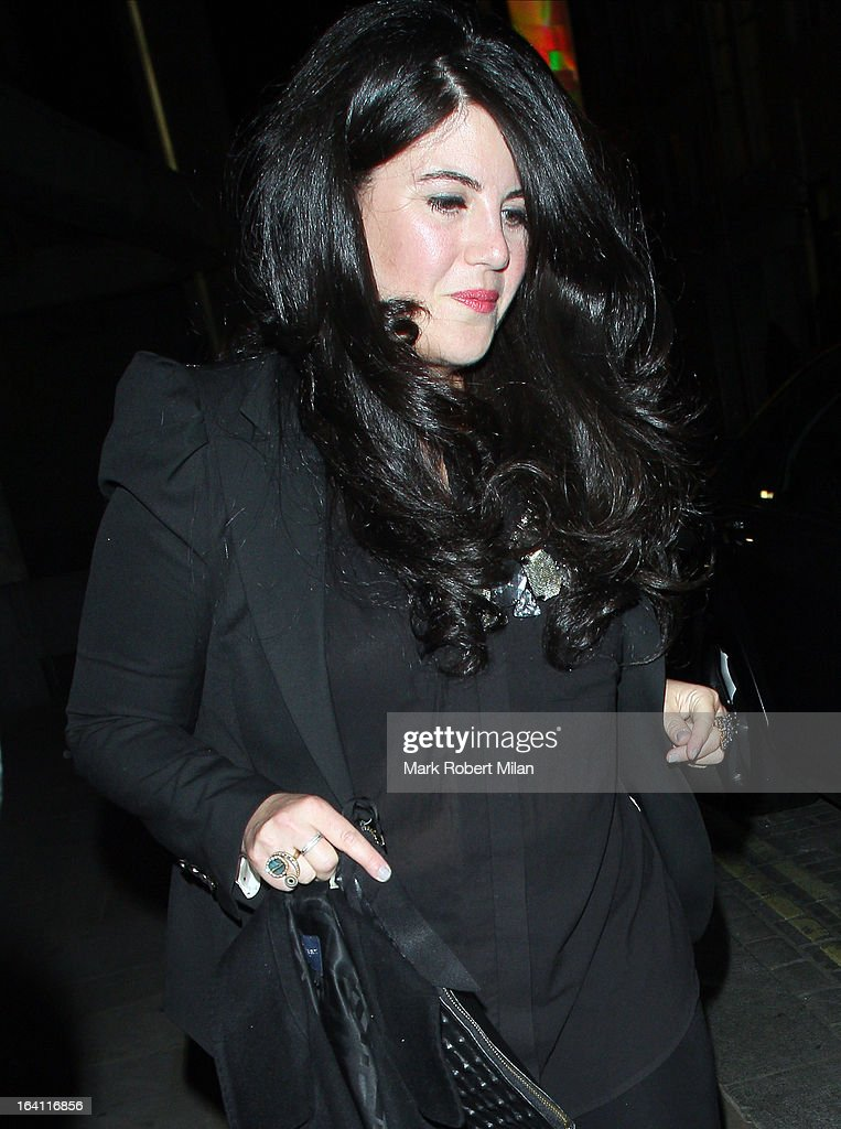 <a gi-track='captionPersonalityLinkClicked' href=/galleries/search?phrase=Monica+Lewinsky&family=editorial&specificpeople=118612 ng-click='$event.stopPropagation()'>Monica Lewinsky</a> at the Downtown Mayfair restaurant for Heather Kerzner's birthday celebration on March 19, 2013 in London, England.