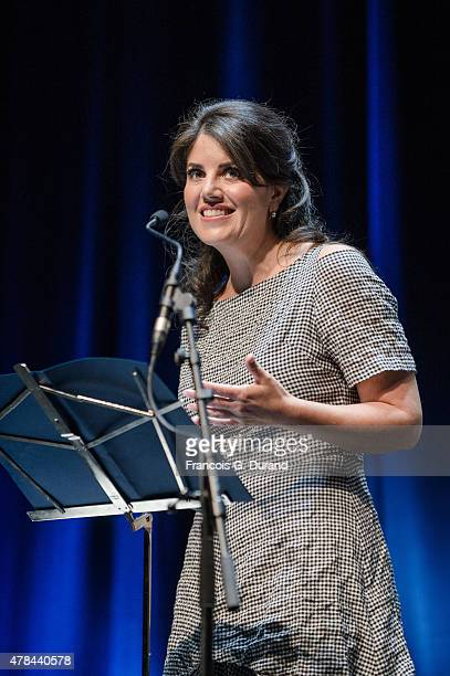 Monica Lewinsky gives a speech at the Ogilvy Mather Seminar during the Cannes Lions International Festival of Creativity on June 25 2015 in Cannes...