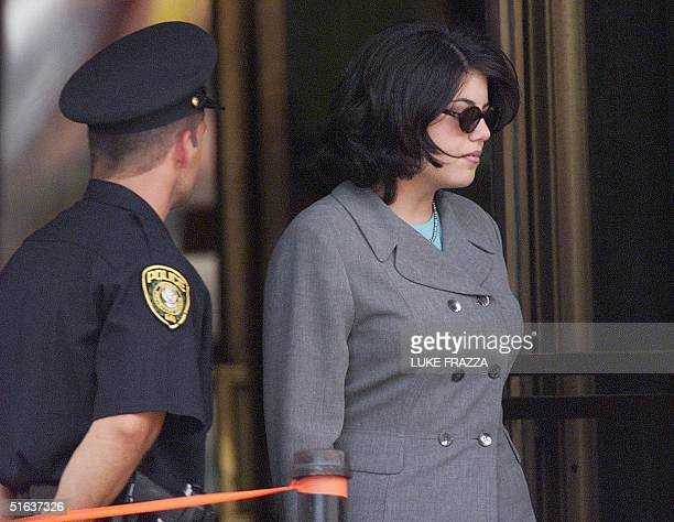 Monica Lewinsky leaves court 20 August after testifying before a grand jury investigating US President Clinton Lewinsky testified for the second time...