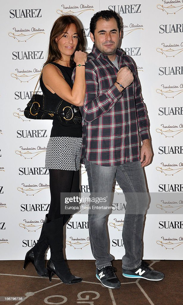 Monica Martin Luque and Emiliano Suarez attend the presentation of the charity bracelet by Suarez and Aladina Foundation on November 20, 2012 in Madrid, Spain.