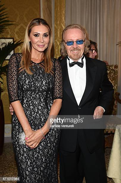 Monica Michielotto and singer Umberto Tozzi attend Prince Albert II Of Monaco Foundation Gala Dinner on April 24 2015 in Venice Italy