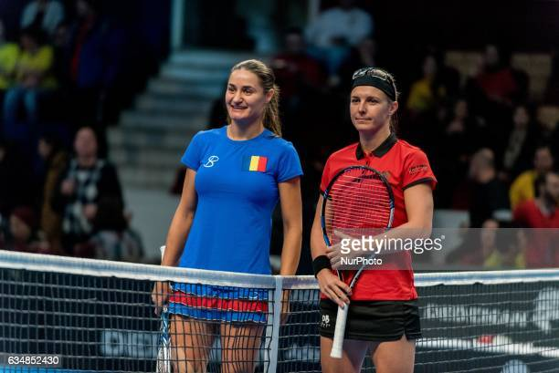 Monica Niculescu L and Kristen Flipkens R during the FED Cup by BNP 2017 game between Romania and Belgium at Sala Polivalenta Bucuresti Romania ROU...