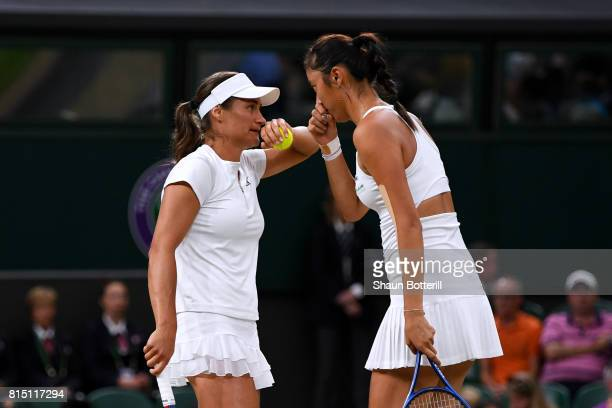 Monica Niculescu of Romania and HaoChing Chan of Chinese Taipei talk in the Ladies Doubles Final against Ekaterina Makarova and Elena Vesnina of...