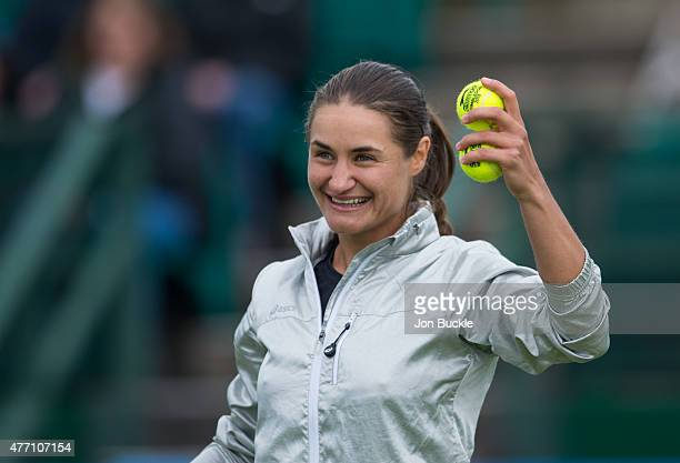Monica Niculescu of Romania celebrates after her victory against Agnieszka Radwanska of Poland on day seven of the WTA Aegon Open Nottingham at...
