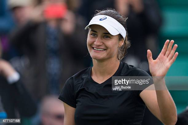 Monica Niculescu of Romania celebrates during her match against Agnieszka Radwanska of Poland on day seven of the WTA Aegon Open Nottingham at...