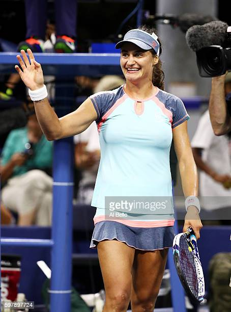 Monica Niculescu of Romania celebrates her win against Barbora Strycova of Czech Republic during her first round Women's Singles match on Day One of...