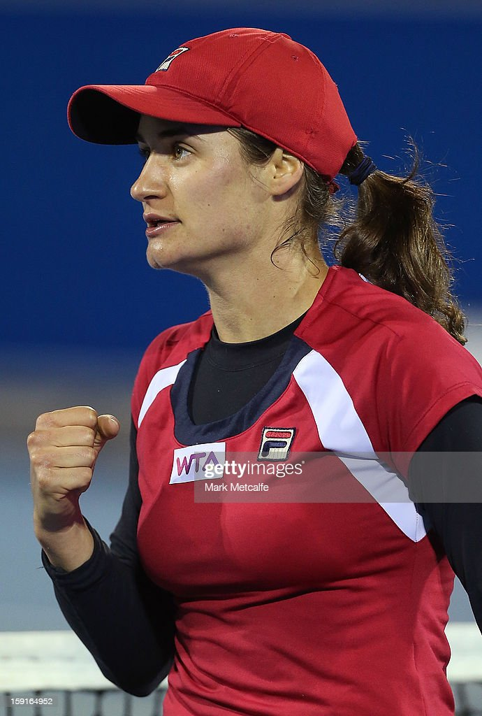 Monica Niculescu of Romania celebrates winning match point in her second round match against Shuai Peng of China during day six of the Hobart International at Domain Tennis Centre on January 9, 2013 in Hobart, Australia.