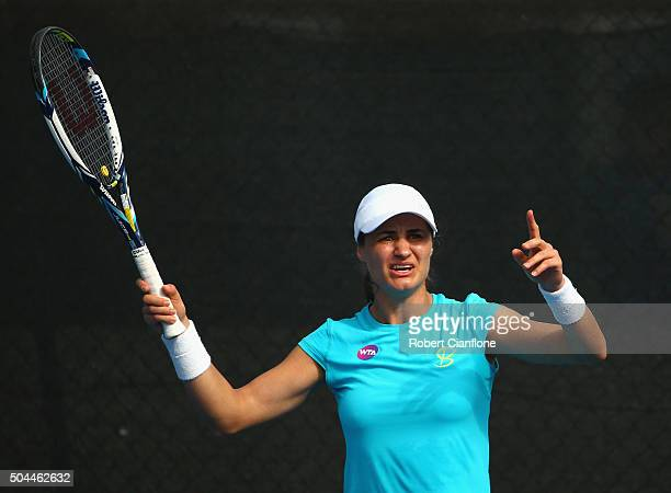 Monica Niculescu of Romania gestures in the women's single's match against Christina McHale of the United States during day two of the 2016 Hobart...