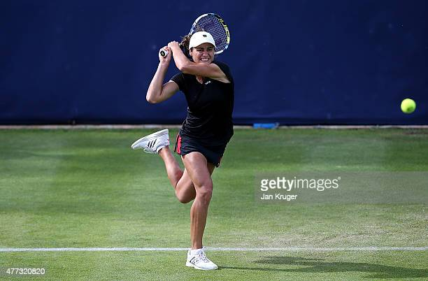 Monica Niculescu of Romania In action against Barbora Strycova of Czech Republic on day two of the Aegon Classic at Edgbaston Priory Club on June 16...
