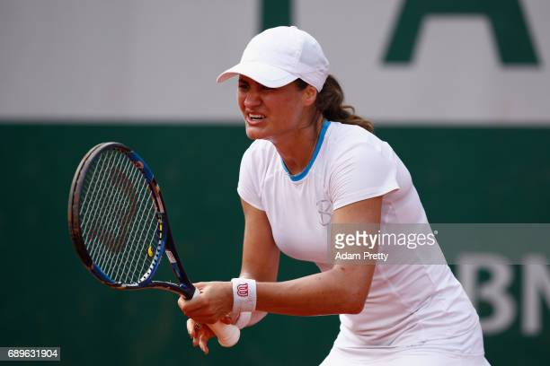 Monica Niculescu of Romania looks on during the ladies singles first round match against Anett Kontaveitt of Estonia on day two of the 2017 French...