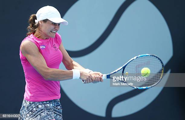 Monica Niculescu of Romania plays a backhand in her final match against Elise Mertens of Belgium during the 2017 Hobart International at Domain...