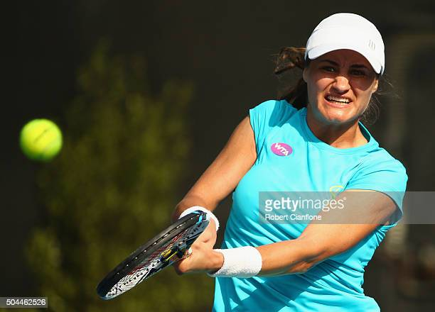 Monica Niculescu of Romania plays a backhand in the women's single's match against Christina McHale of the United States during day two of the 2016...