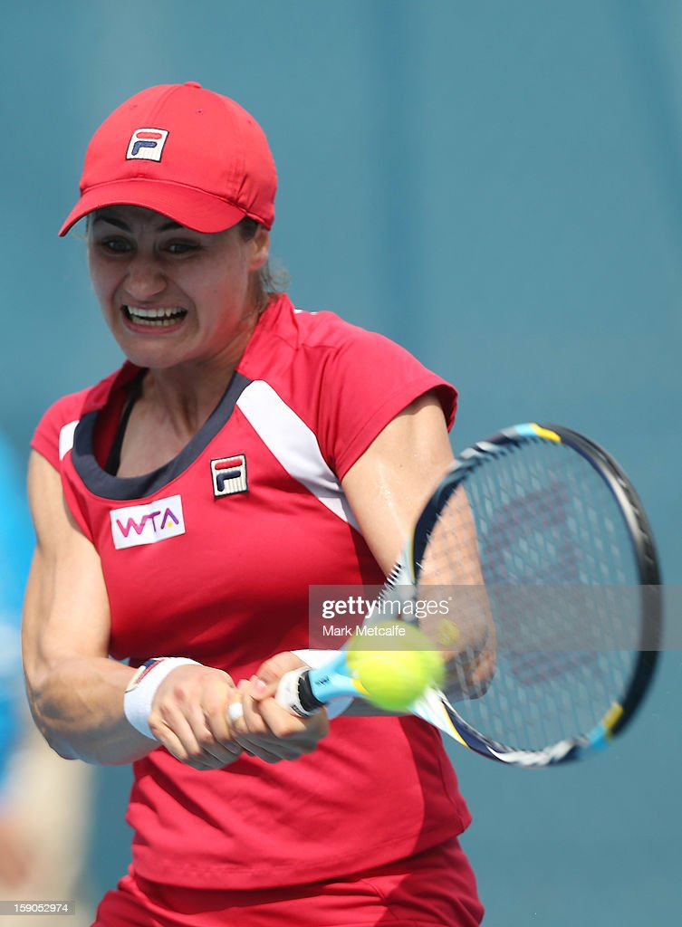 Monica Niculescu of Romania plays a forehand in her first round match against Mandy Minella of Luxembourg during day four of the Hobart International at Domain Tennis Centre on January 7, 2013 in Hobart, Australia.