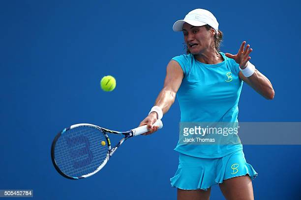 Monica Niculescu of Romania plays a forehand in her first round match against Teliana Pereira of Brazil during day one of the 2016 Australian Open at...